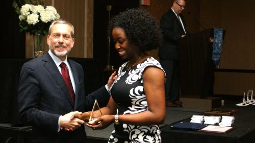 maritza receiving award