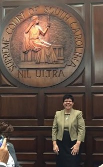 Author/Student, Betty Thomas, in the Courtroom